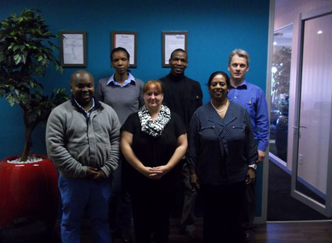 From left (Front): Yabantu Zwane (Deputy Quality Manager), Magzelle Goeiman (Quality Manager), Dharmarai Naicker (GM: Laboratory),  From left (Back): Zukiswa Raditladi, (BOBS Principal Scientist, Compulsory Standards), Amen Alan A Ntlhaile (BOBS  Principal Engineer, Compulsory Standards), Hein Engelbrecht (Laboratory Supervisor).